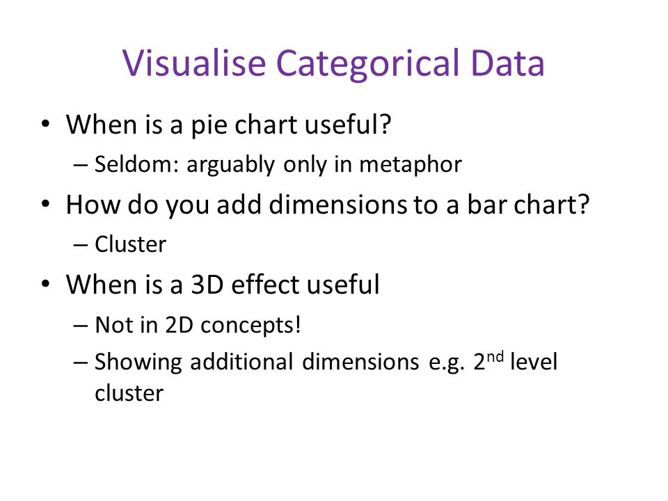Visualise Categorical Data When is a pie chart useful.