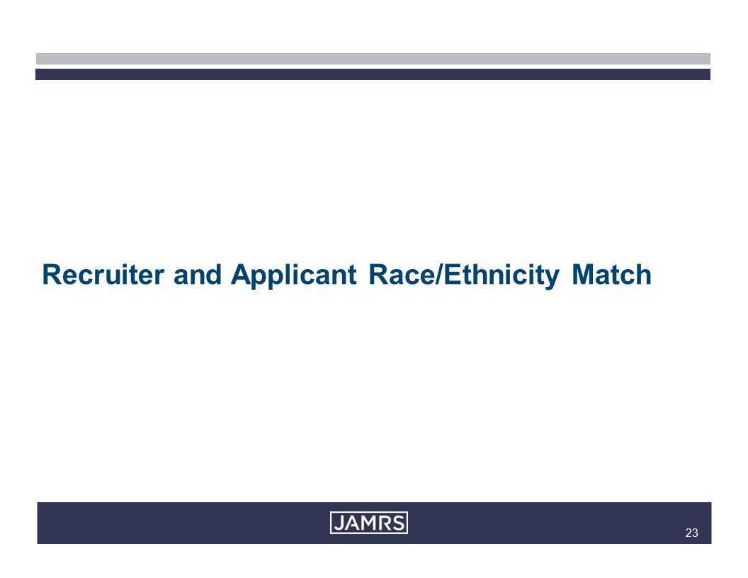 23 Recruiter and Applicant Race/Ethnicity Match