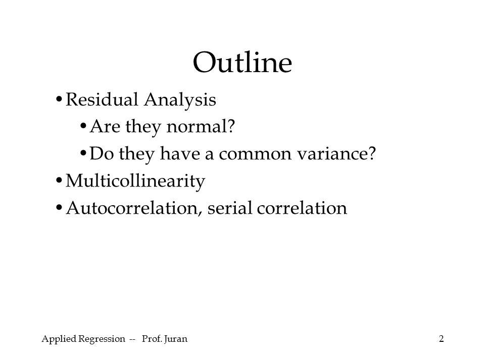 Applied Regression -- Prof.Juran53 (A.k.a.