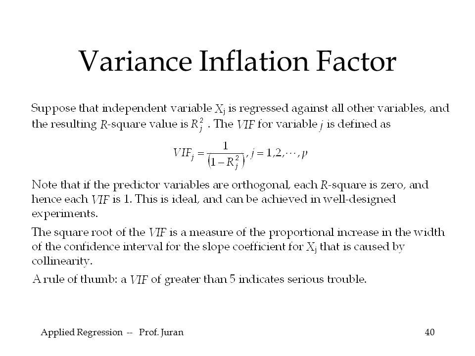 Applied Regression -- Prof. Juran40 Variance Inflation Factor