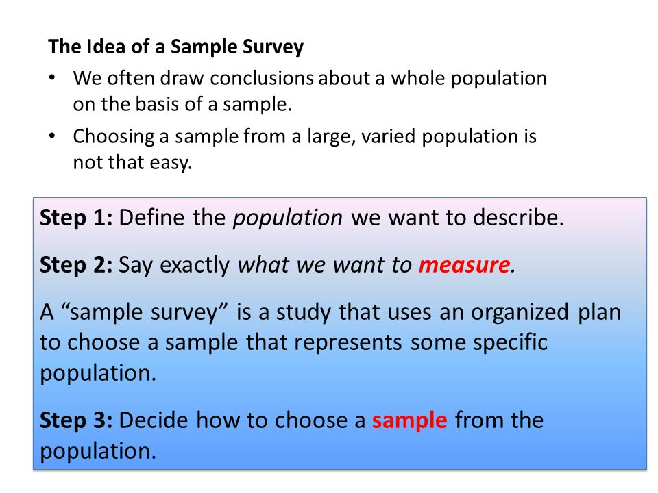 The Idea of a Sample Survey We often draw conclusions about a whole populationon the basis of a sample. Choosing a sample from a large, varied populat