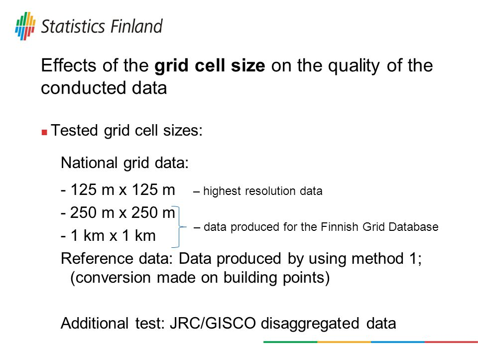 Effects of the grid cell size on the quality of the conducted data Tested grid cell sizes: National grid data: - 125 m x 125 m – highest resolution data - 250 m x 250 m - 1 km x 1 km Reference data: Data produced by using method 1; (conversion made on building points) Additional test: JRC/GISCO disaggregated data – data produced for the Finnish Grid Database