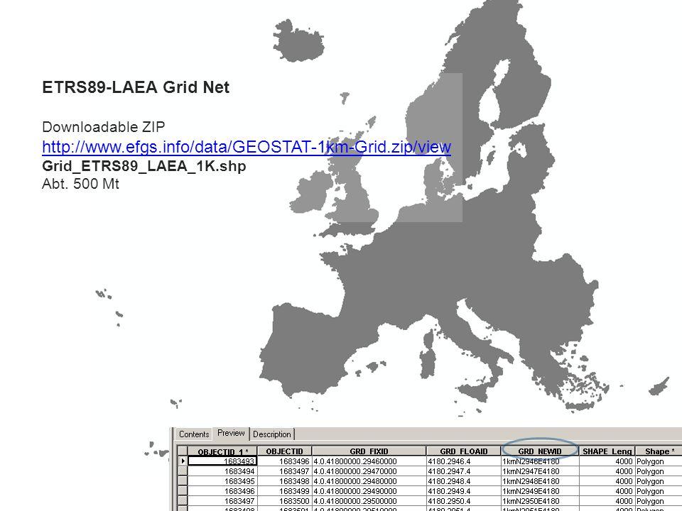 ETRS89-LAEA Grid Net Downloadable ZIP http://www.efgs.info/data/GEOSTAT-1km-Grid.zip/view Grid_ETRS89_LAEA_1K.shp Abt.
