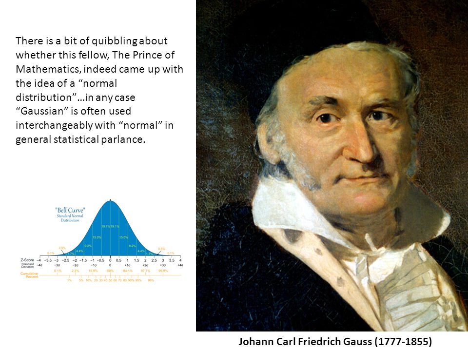 Johann Carl Friedrich Gauss (1777-1855) There is a bit of quibbling about whether this fellow, The Prince of Mathematics, indeed came up with the idea of a normal distribution …in any case Gaussian is often used interchangeably with normal in general statistical parlance.