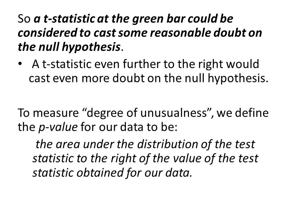 So a t-statistic at the green bar could be considered to cast some reasonable doubt on the null hypothesis. A t-statistic even further to the right wo