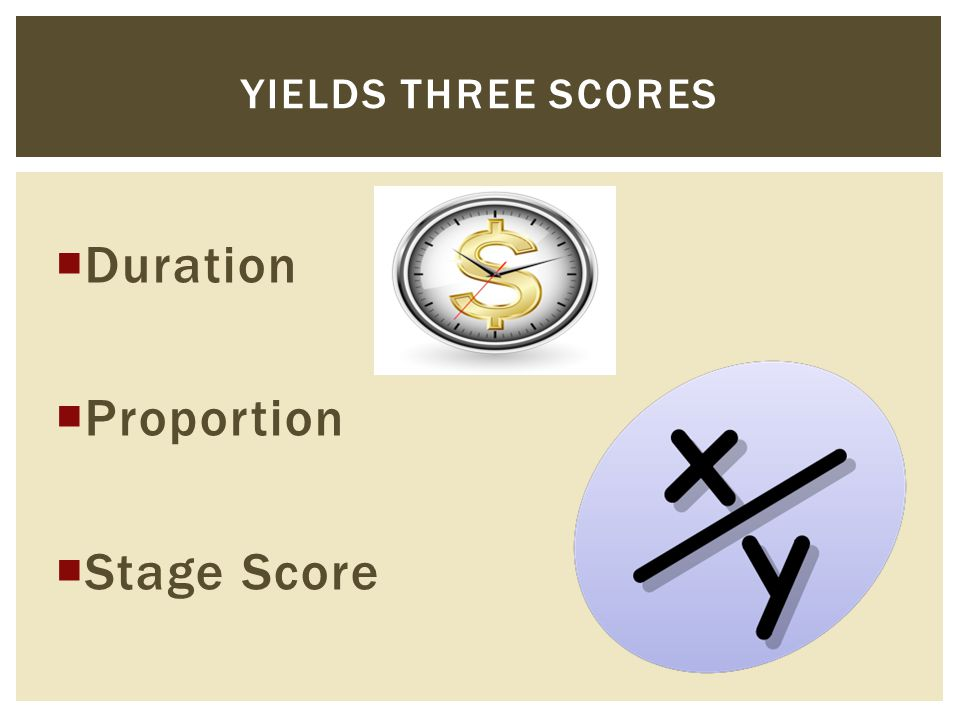  Duration  Proportion  Stage Score YIELDS THREE SCORES