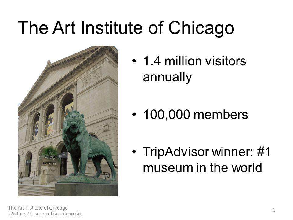 The Art Institute of Chicago 1.4 million visitors annually 100,000 members TripAdvisor winner: #1 museum in the world 3 The Art Institute of Chicago Whitney Museum of American Art