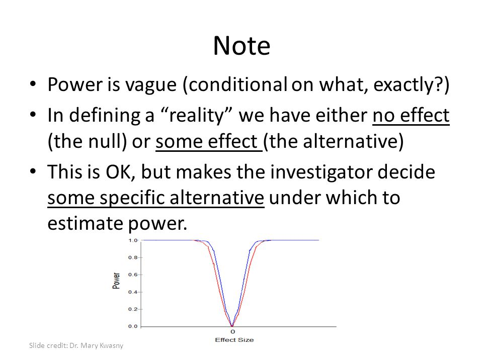 """Note Power is vague (conditional on what, exactly?) In defining a """"reality"""" we have either no effect (the null) or some effect (the alternative) This"""