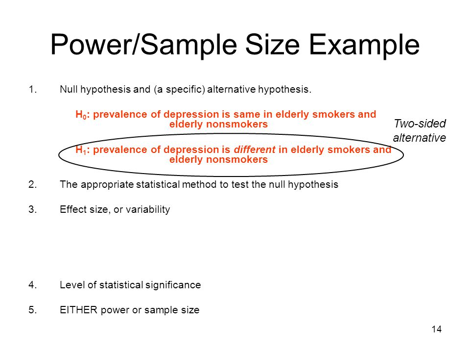 14 Power/Sample Size Example 1.Null hypothesis and (a specific) alternative hypothesis. H 0 : prevalence of depression is same in elderly smokers and