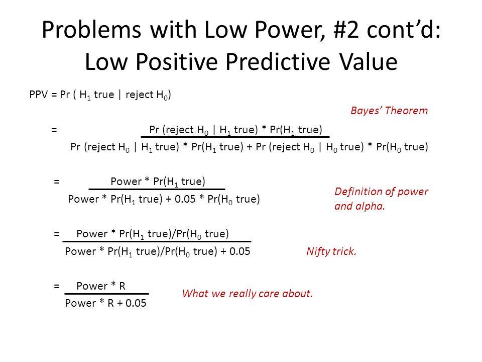 Problems with Low Power, #2 cont'd: Low Positive Predictive Value PPV = Pr ( H 1 true | reject H 0 ) = Pr (reject H 0 | H 1 true) * Pr(H 1 true) Pr (r