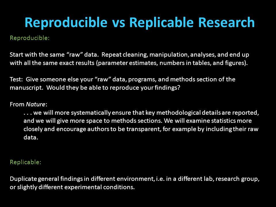 Reproducible vs Replicable Research (Cottle, Lee, & Heilbrun, 2001; McReynolds, Schwalbe, & Wasserman, 2010; Stoolmiller & Blechman, 2005) Reproducibl