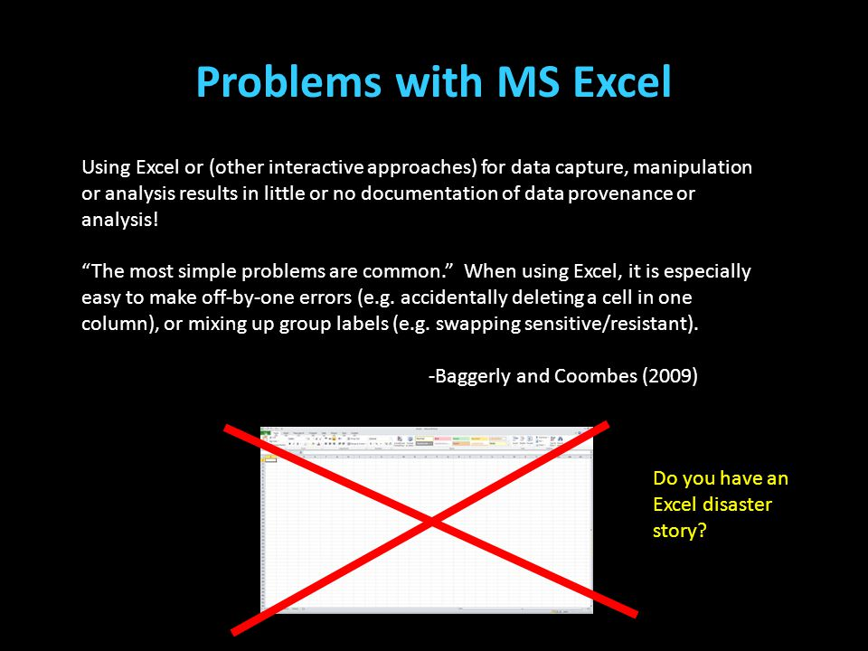 Problems with MS Excel (Teplin, Welty, Abram, Dulcan, & Washburn, 2012) (Cottle, Lee, & Heilbrun, 2001; McReynolds, Schwalbe, & Wasserman, 2010; Stool
