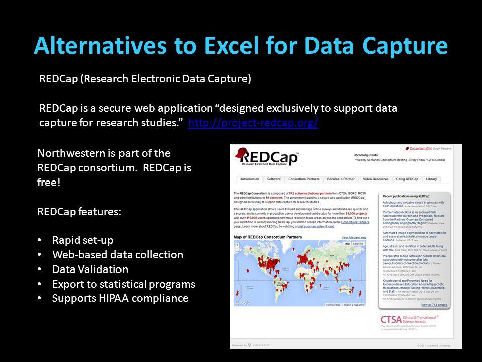 Alternatives to Excel for Data Capture (Teplin, Welty, Abram, Dulcan, & Washburn, 2012) (Cottle, Lee, & Heilbrun, 2001; McReynolds, Schwalbe, & Wasser