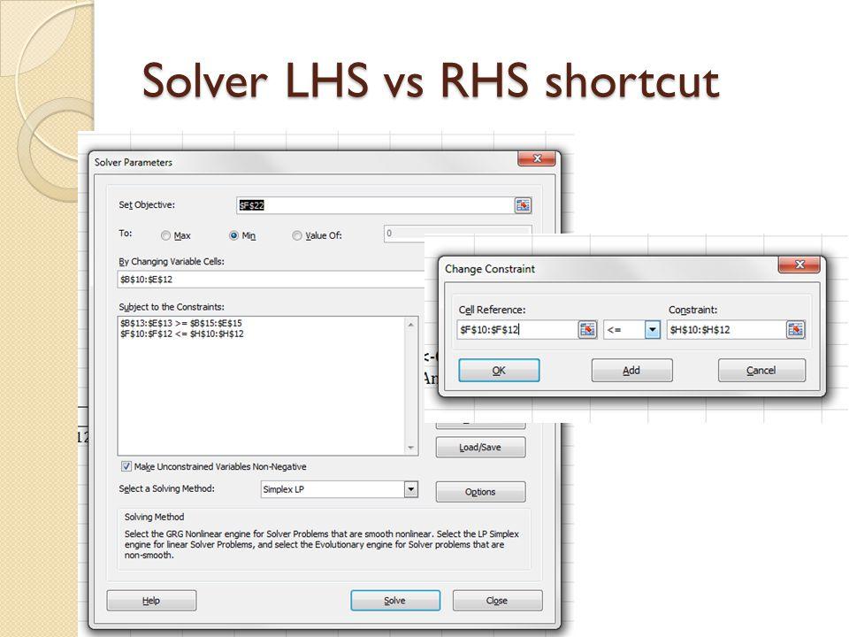 Solver LHS vs RHS shortcut