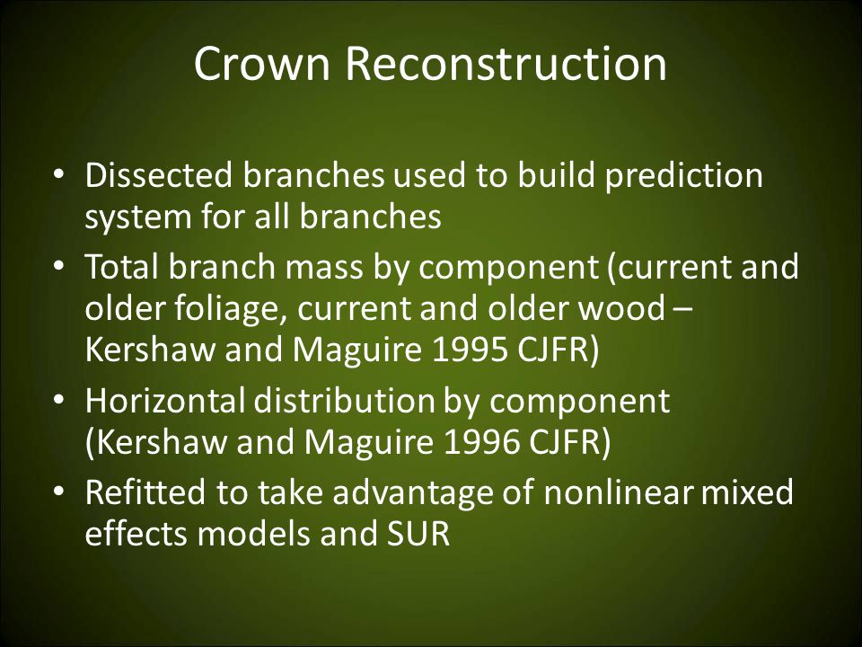 Crown Reconstruction Dissected branches used to build prediction system for all branches Total branch mass by component (current and older foliage, current and older wood – Kershaw and Maguire 1995 CJFR) Horizontal distribution by component (Kershaw and Maguire 1996 CJFR) Refitted to take advantage of nonlinear mixed effects models and SUR