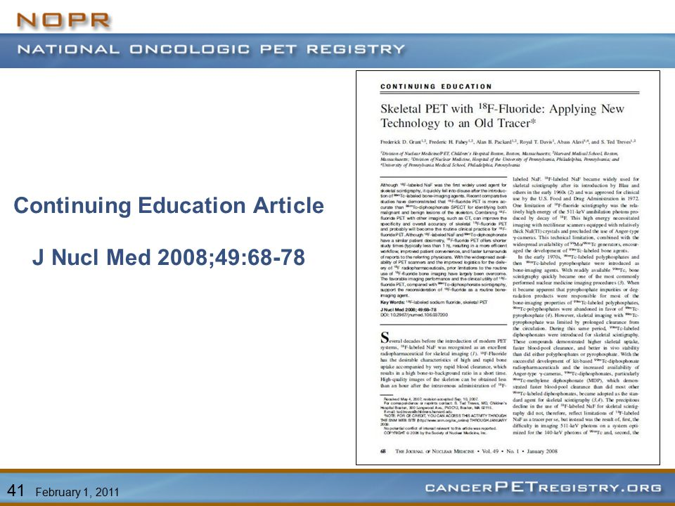 Continuing Education Article J Nucl Med 2008;49:68-78 41 February 1, 2011