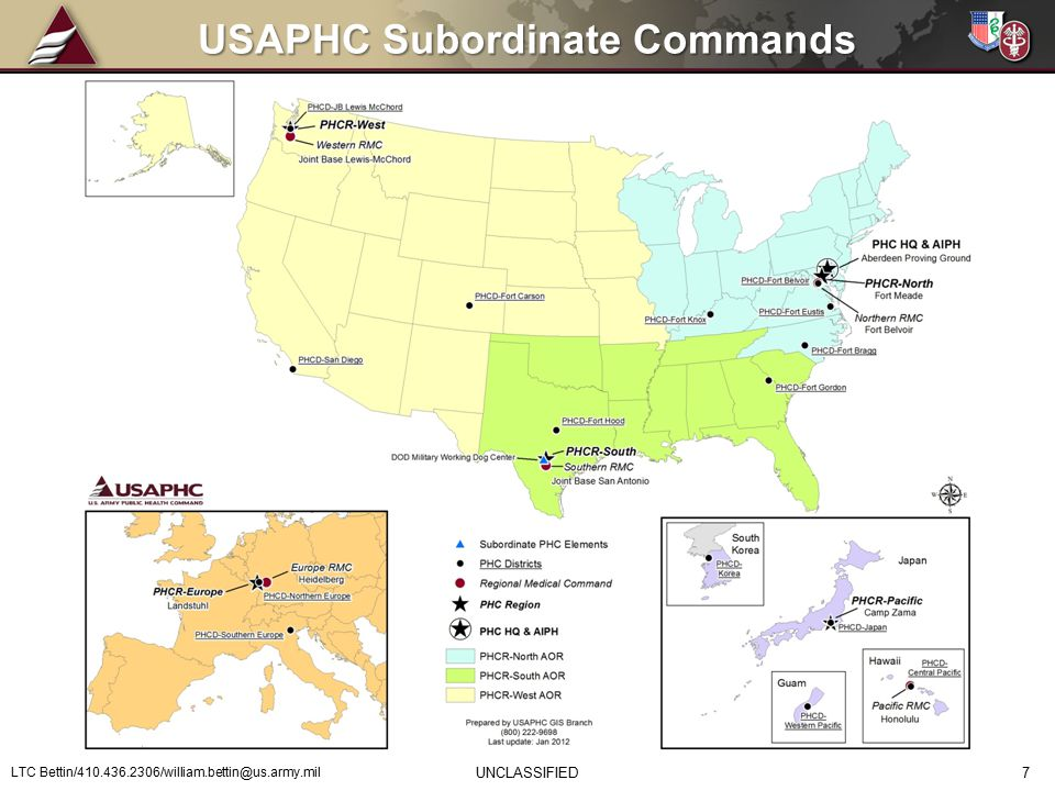 USAPHC Subordinate Commands UNCLASSIFIED LTC Bettin/410.436.2306/william.bettin@us.army.mil 7