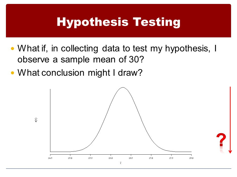 Hypothesis Testing What if, in collecting data to test my hypothesis, I observe a sample mean of 30.