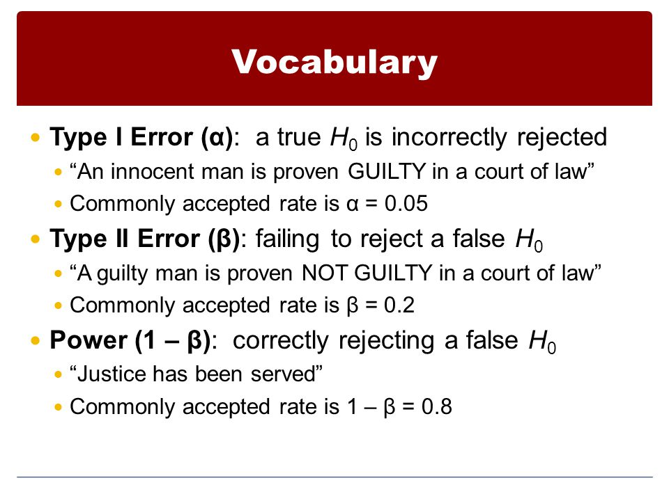 Vocabulary Type I Error (α): a true H 0 is incorrectly rejected An innocent man is proven GUILTY in a court of law Commonly accepted rate is α = 0.05 Type II Error (β): failing to reject a false H 0 A guilty man is proven NOT GUILTY in a court of law Commonly accepted rate is β = 0.2 Power (1 – β): correctly rejecting a false H 0 Justice has been served Commonly accepted rate is 1 – β = 0.8