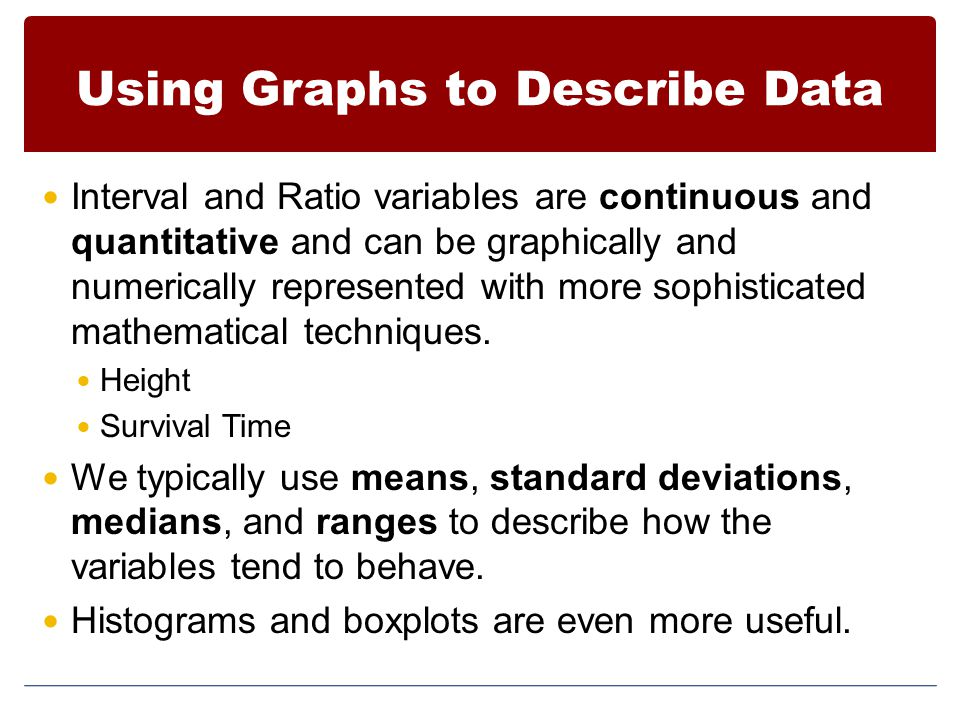 Using Graphs to Describe Data Interval and Ratio variables are continuous and quantitative and can be graphically and numerically represented with more sophisticated mathematical techniques.