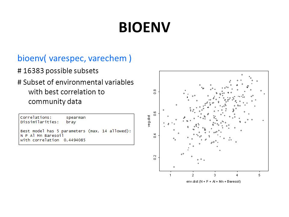 BIOENV bioenv( varespec, varechem ) # 16383 possible subsets # Subset of environmental variables with best correlation to community data