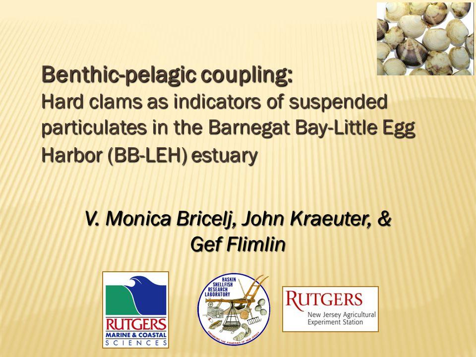 Benthic-pelagic coupling: Hard clams as indicators of suspended particulates in the Barnegat Bay-Little Egg Harbor (BB-LEH) estuary V. Monica Bricelj,