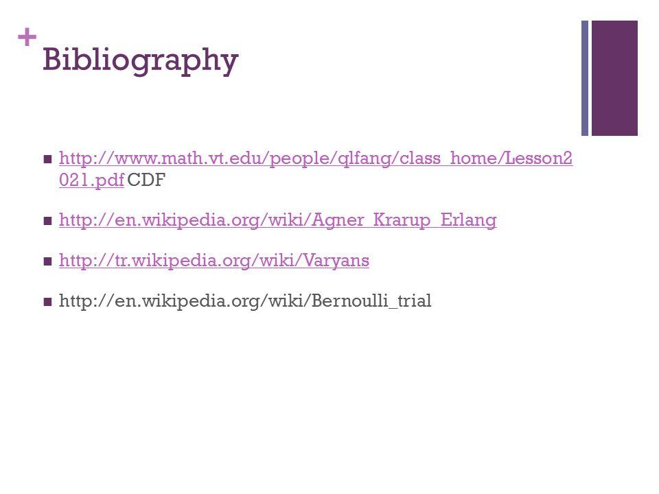 + Bibliography http://www.math.vt.edu/people/qlfang/class_home/Lesson2 021.pdf CDF http://www.math.vt.edu/people/qlfang/class_home/Lesson2 021.pdf http://en.wikipedia.org/wiki/Agner_Krarup_Erlang http://tr.wikipedia.org/wiki/Varyans http://en.wikipedia.org/wiki/Bernoulli_trial