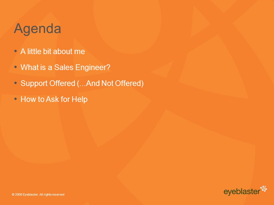 © 2009 Eyeblaster.All rights reserved Agenda A little bit about me What is a Sales Engineer.