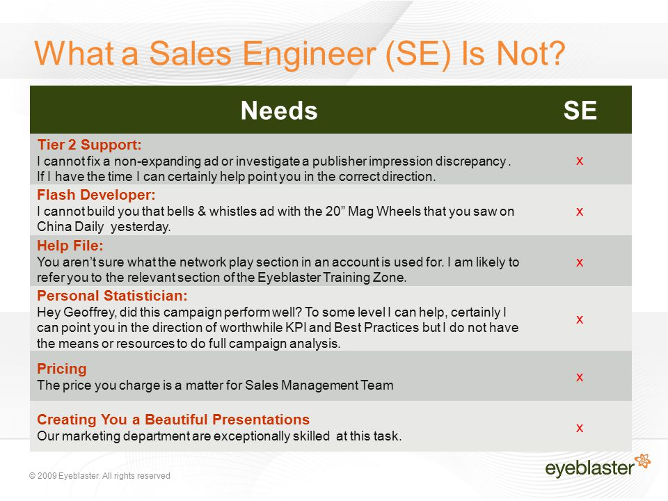 © 2009 Eyeblaster.All rights reserved What a Sales Engineer (SE) Is Not.