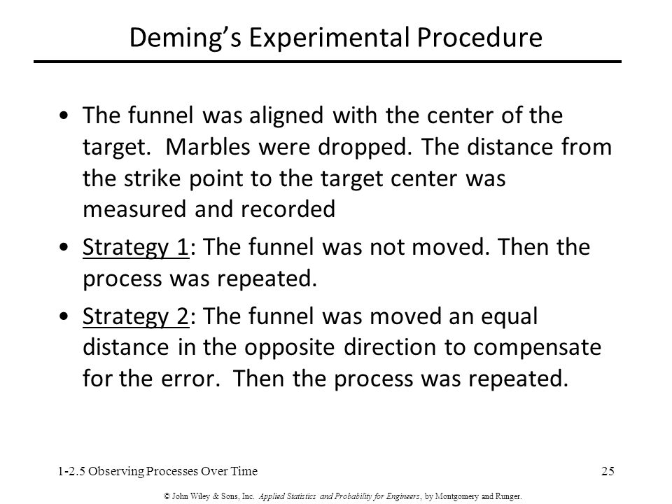 Deming's Experimental Procedure The funnel was aligned with the center of the target.