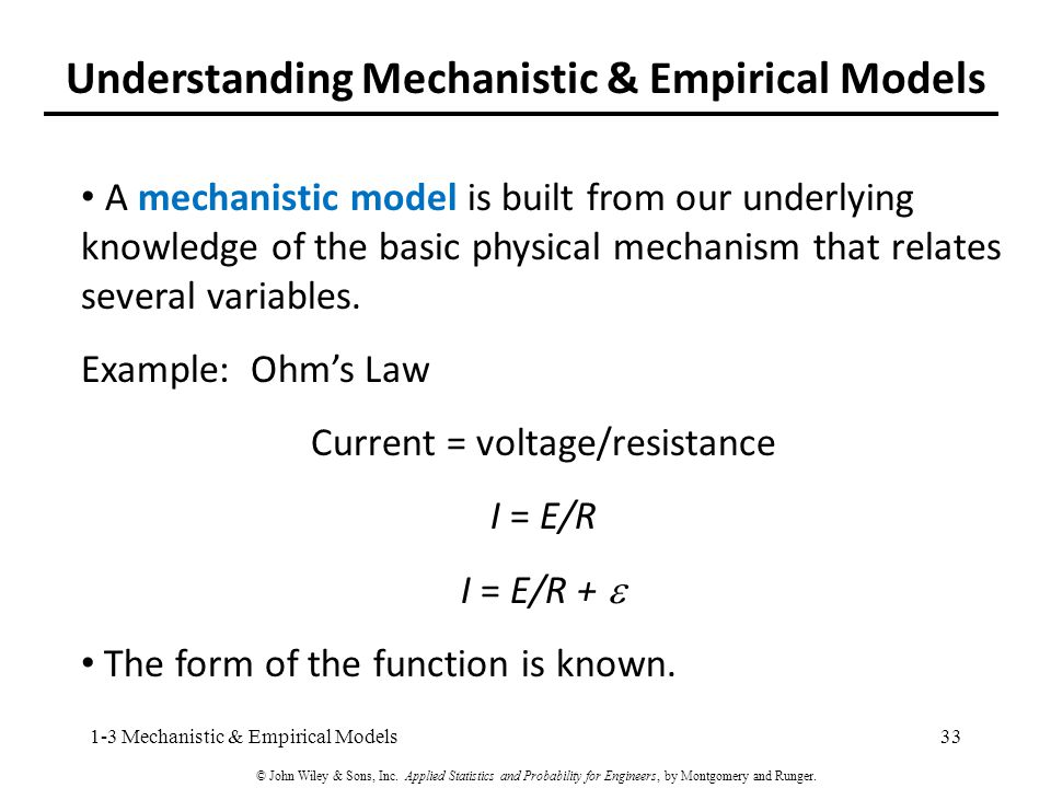 Understanding Mechanistic & Empirical Models A mechanistic model is built from our underlying knowledge of the basic physical mechanism that relates several variables.