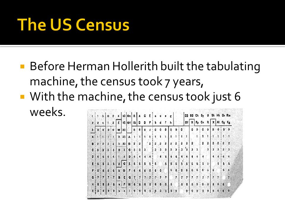  Before Herman Hollerith built the tabulating machine, the census took 7 years,  With the machine, the census took just 6 weeks.