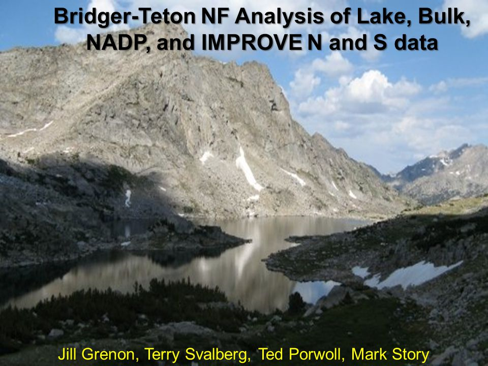 Available datasets for analysis  Four Lakes in the Bridger Wilderness (annual, seasonal, inlet, outlet, hypolimnion, and epilimnion),1984.