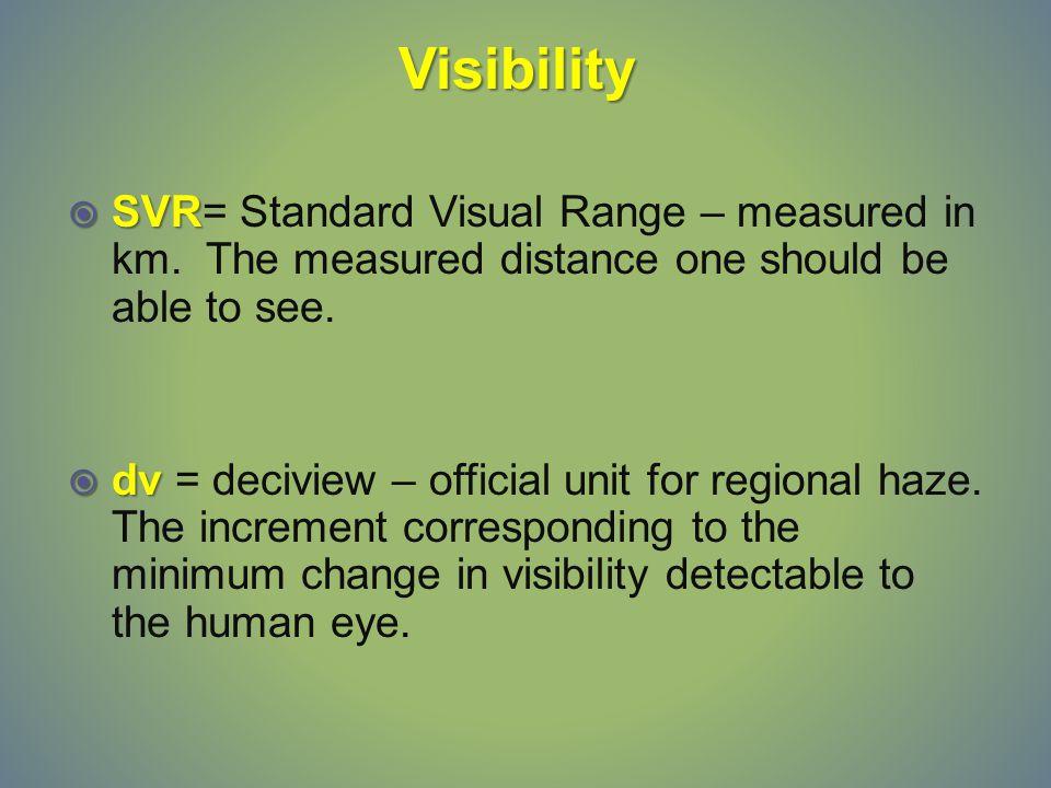  SVR  SVR= Standard Visual Range – measured in km.