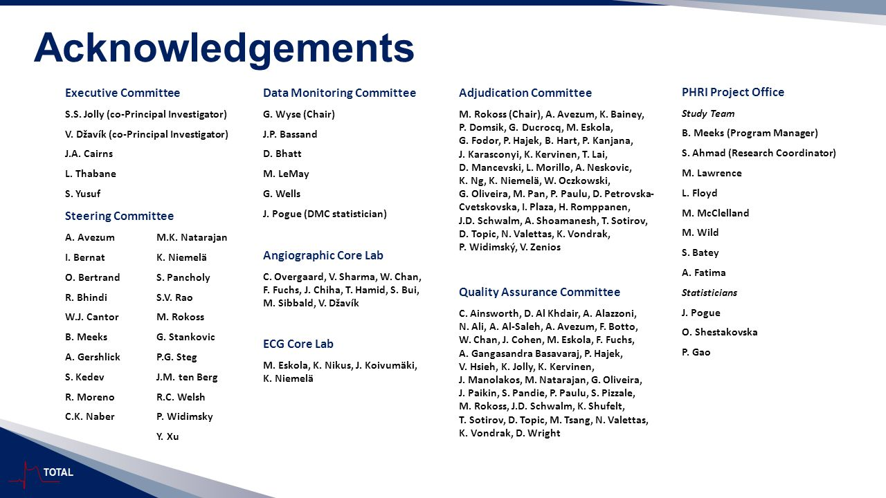 TOTAL Acknowledgements Steering Committee A. AvezumM.K.