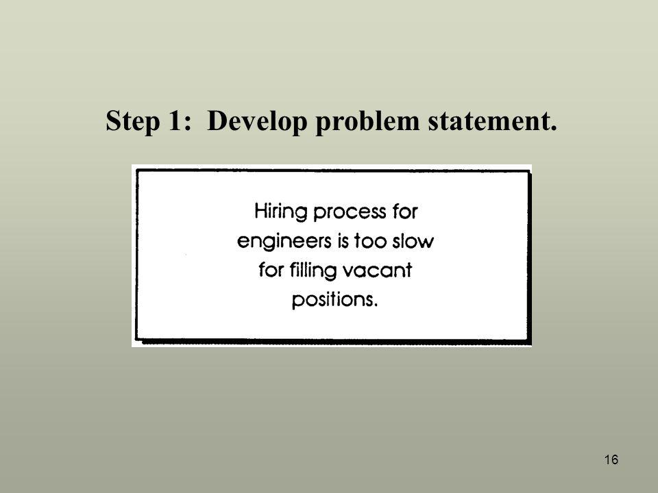 16 Step 1: Develop problem statement.