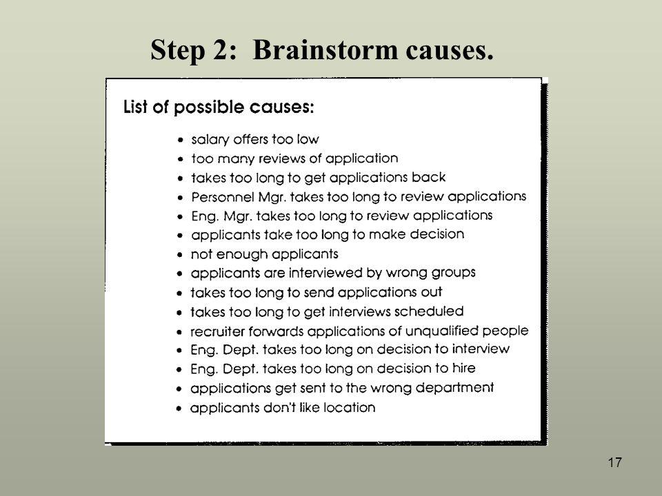 17 Step 2: Brainstorm causes.