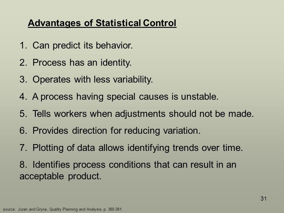 31 Advantages of Statistical Control 1.Can predict its behavior.