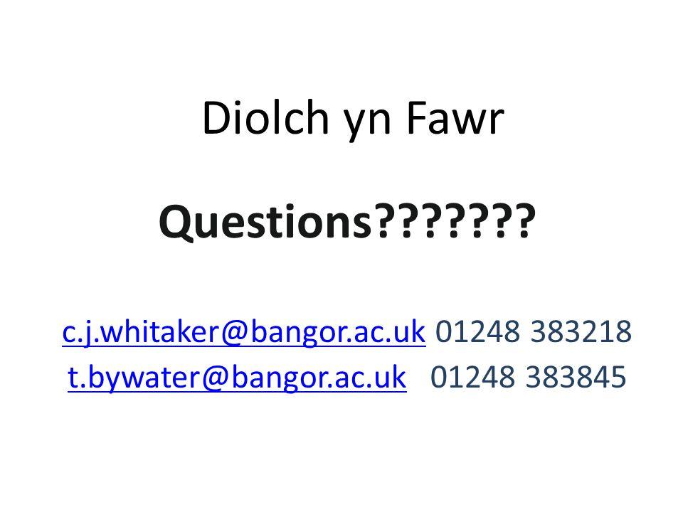 Diolch yn Fawr Questions .