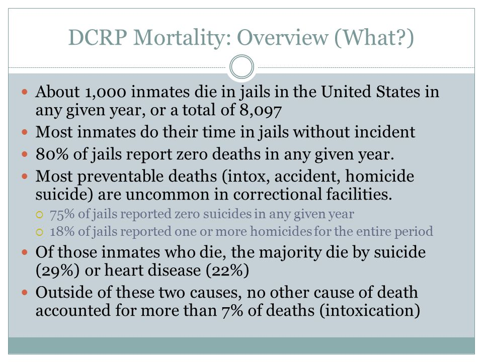DCRP Mortality: Overview (What ) About 1,000 inmates die in jails in the United States in any given year, or a total of 8,097 Most inmates do their time in jails without incident 80% of jails report zero deaths in any given year.