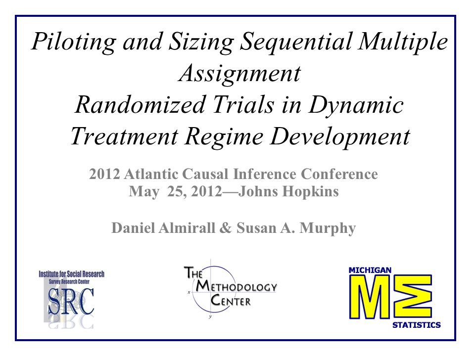 Piloting and Sizing Sequential Multiple Assignment Randomized Trials in Dynamic Treatment Regime Development 2012 Atlantic Causal Inference Conference May 25, 2012—Johns Hopkins Daniel Almirall & Susan A.