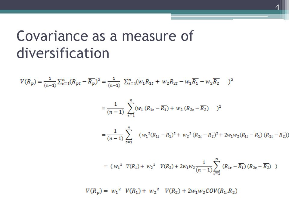 Covariance as a measure of diversification 4