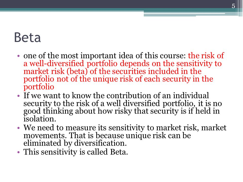 Betas and covariances A statistician would define the beta of stock i as: 6