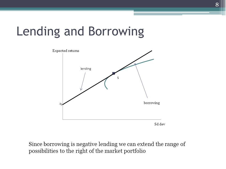 Lending and Borrowing 8 Since borrowing is negative lending we can extend the range of possibilities to the right of the market portfolio