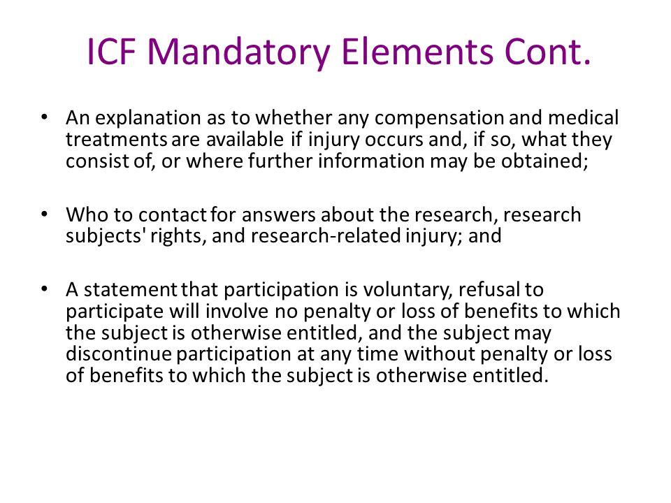 ICF Mandatory Elements Cont.