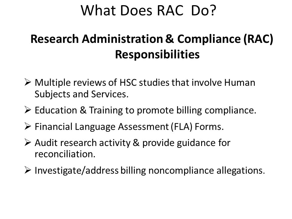 What Does RAC Do.