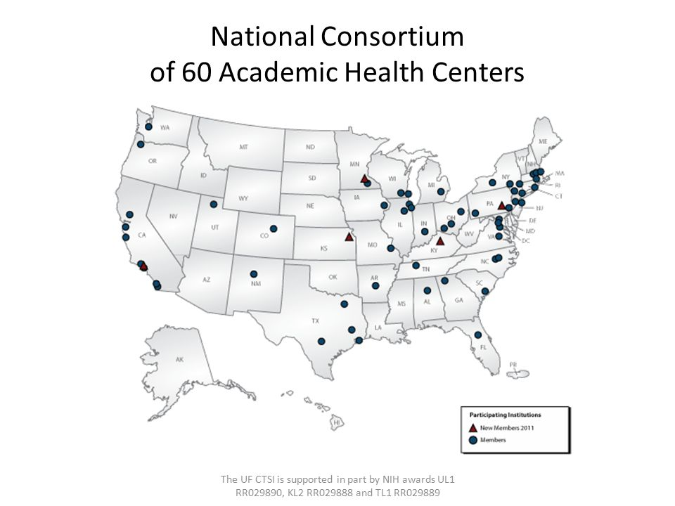 National Consortium of 60 Academic Health Centers The UF CTSI is supported in part by NIH awards UL1 RR029890, KL2 RR029888 and TL1 RR029889
