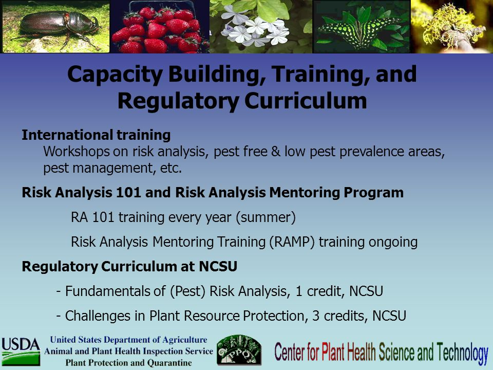 Capacity Building, Training, and Regulatory Curriculum International training Workshops on risk analysis, pest free & low pest prevalence areas, pest