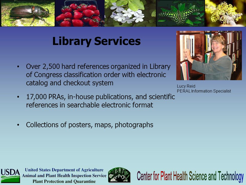 Library Services Over 2,500 hard references organized in Library of Congress classification order with electronic catalog and checkout system 17,000 P