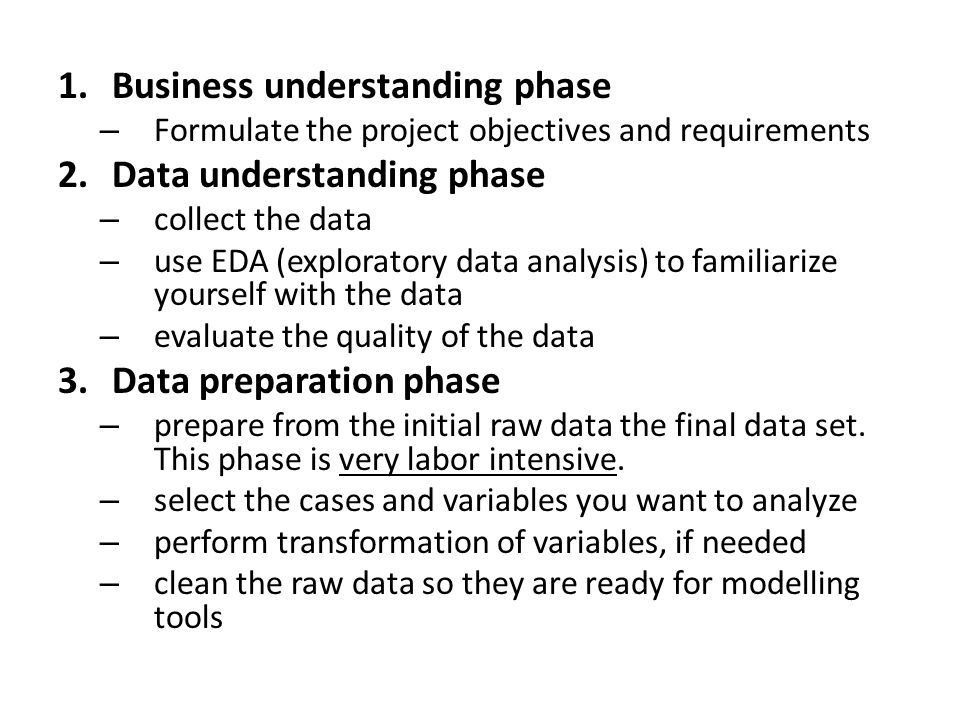 1.Business understanding phase – Formulate the project objectives and requirements 2.Data understanding phase – collect the data – use EDA (exploratory data analysis) to familiarize yourself with the data – evaluate the quality of the data 3.Data preparation phase – prepare from the initial raw data the final data set.